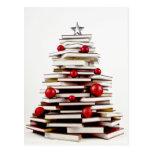 Book Christmas Tree Post Card