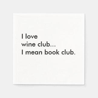 Book Club Cocktail Napkins - I love wine club
