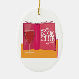 Book Club Double-Sided Oval Ceramic Christmas Ornament