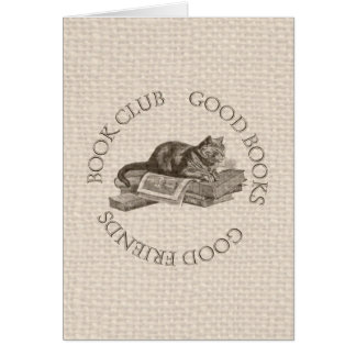 Book Club - Good Books - Good Friends With Cat Card