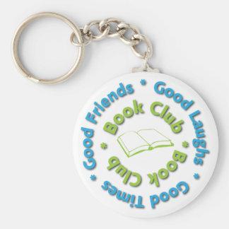 book club good friends basic round button keychain
