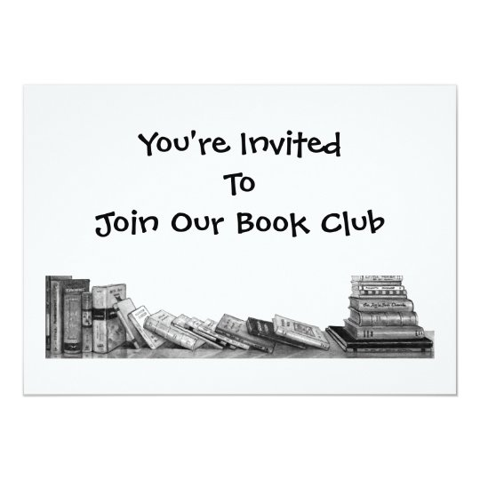 BOOK CLUB INVITATION: PENCIL DRAWING, BOOKS CARD
