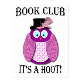 Book Club - It's A Hoot - Pink Design Postcard