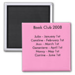 book club reminder. 2 inch square magnet