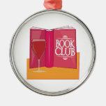 Book Club Round Metal Christmas Ornament