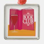 Book Club Square Metal Christmas Ornament