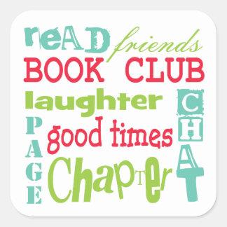 Book Club Subway Design by Artinspired Square Sticker