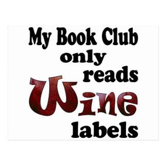 Book Club Wine Labels Postcards