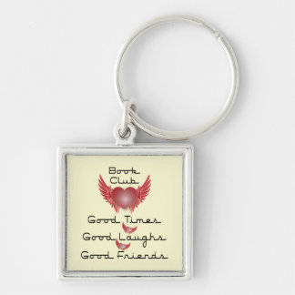 book club with heart design Silver-Colored square keychain