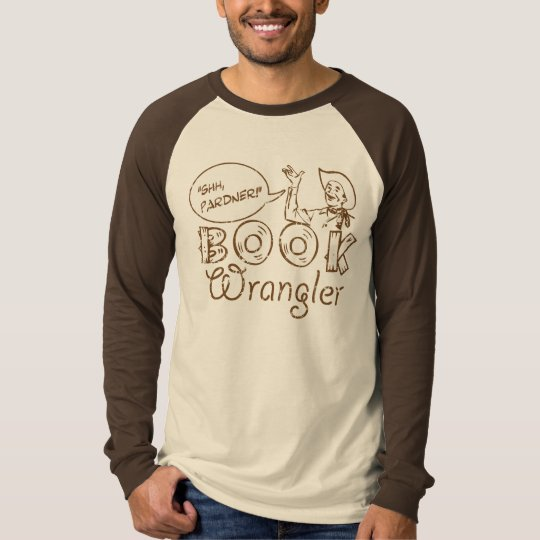 Book Cowboy Funny Librarian Long Sleeve Raglan T-Shirt