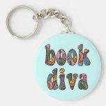 Book Diva 2 Basic Round Button Keychain