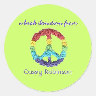 Book donation bookplate sticker - peace