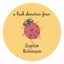 Book donation label - ladybug