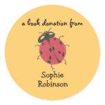 Book donation label - ladybug round stickers