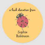 Book donation label - ladybug classic round sticker