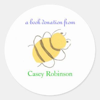 Book donation sticker - bee