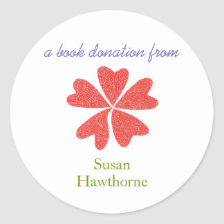 Book donation sticker - blooming hearts