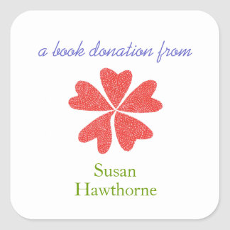 Book donation sticker - blooming hearts - square