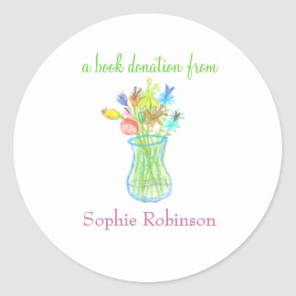 Book donation sticker - floral
