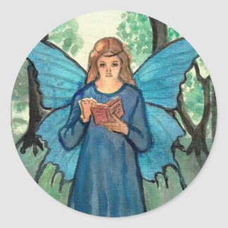 Book fairy in the forest classic round sticker