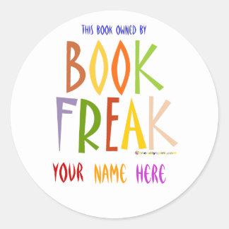 Book Freak Bookplate Classic Round Sticker