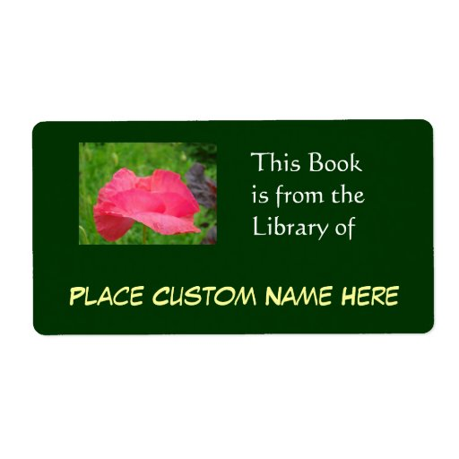 Book from the Library of Custom Name Green Personalized Shipping Labels