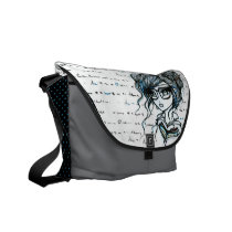 Book Girl with Glasses Messenger Bag