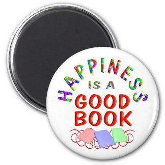 Book Happiness 2 Inch Round Magnet