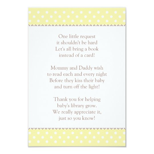 book instead of card baby shower insert zazzle
