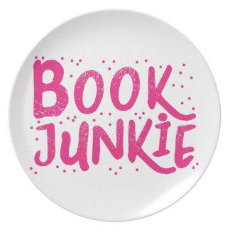 book junkie in pink dinner plate