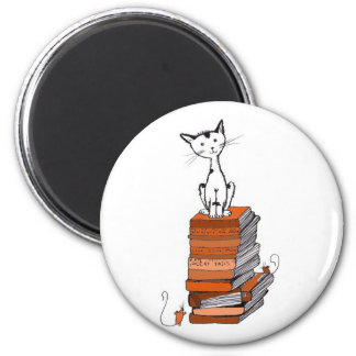 Book kitty 2 inch round magnet