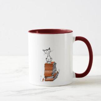 book kitty mug