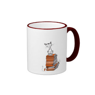 book kitty coffee mug