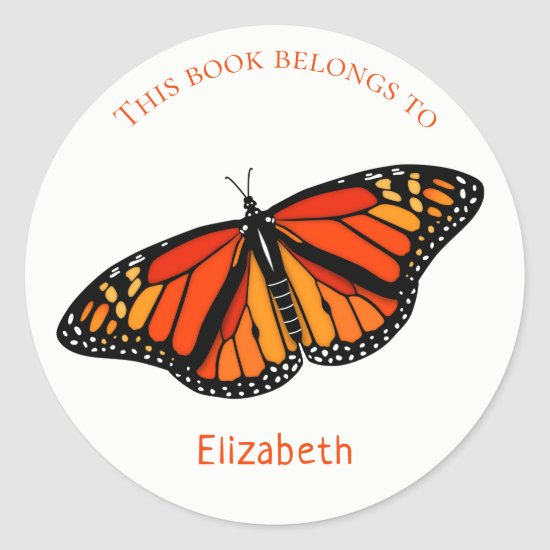 Book label for kids with colorful Monarch Butterfly