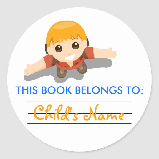 Book Label Sticker for Boys