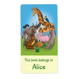 Book Labels with cute animals label
