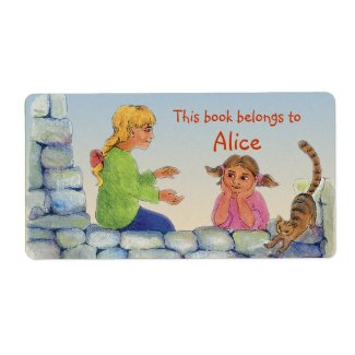 Book Labels with two girls and cat label