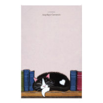 Book Love | Cat on a Book Shelf Note Paper