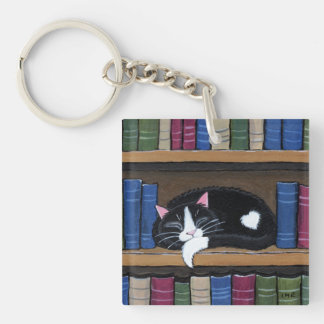 Book Love | Cat Sleeping on Bookcase Acrylic Keychain