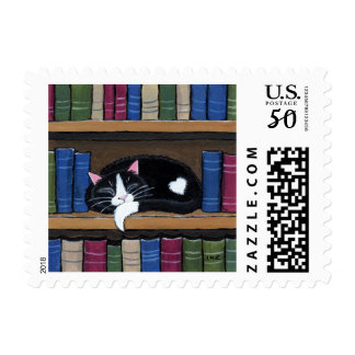 Book Love   Cat Sleeping on Bookcase Postage