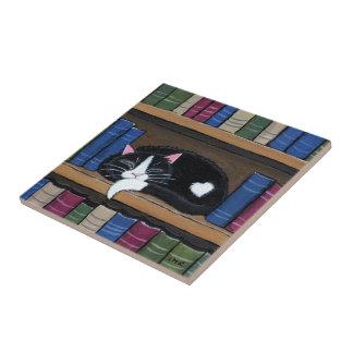 Book Love | Cat Sleeping on Bookcase Tile
