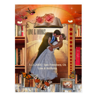 Book Love Story Wedding Photo Thank You Postcard
