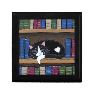Book Love | Tuxedo Cat Sleeping on Bookcase Jewelry Box