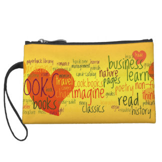 Book Lover Colorful Text Design Wristlet