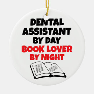 Book Lover Dental Assistant Double-Sided Ceramic Round Christmas Ornament
