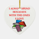 book lover Double-Sided heart ceramic christmas ornament