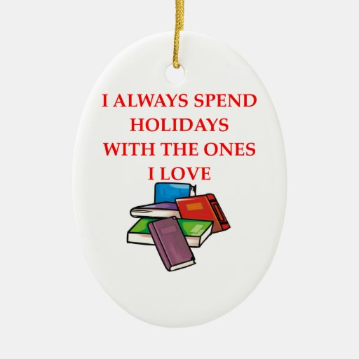 book lover Double-Sided oval ceramic christmas ornament