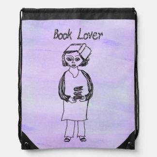 Book Lover Drawstring Backpack