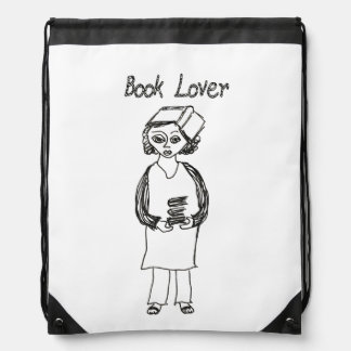 Book Lover Drawstring Bag