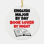 Book Lover English Major Double-Sided Ceramic Round Christmas Ornament